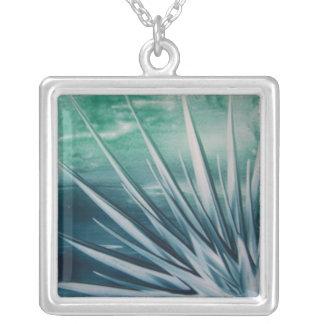 Encaustic explosion square pendant necklace