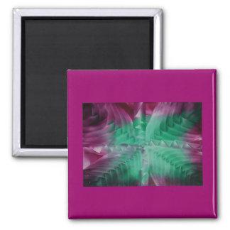 Encaustic green violet waves imán cuadrado