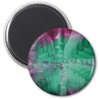 Encaustic green violet waves imán redondo 5 cm