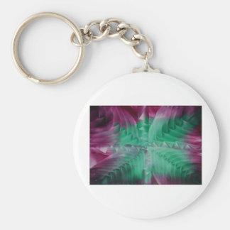 Encaustic green violet waves llavero redondo tipo pin