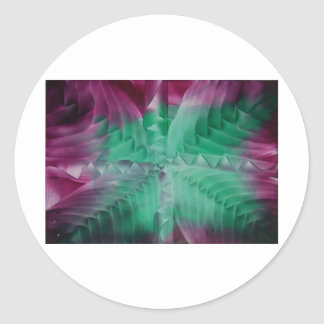 Encaustic green violet waves pegatina redonda