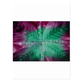 Encaustic green violet waves postales