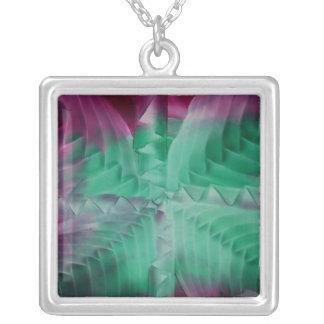Encaustic green violet waves square pendant necklace