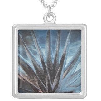 Encaustic Ice Square Pendant Necklace