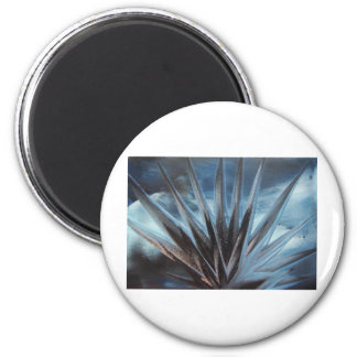 Encaustic Ice - Silver White Abstract Magnet