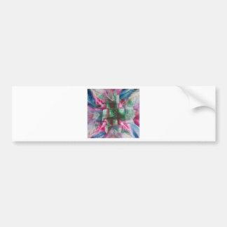 Encaustic Mandala green pink blue drops Bumper Sticker
