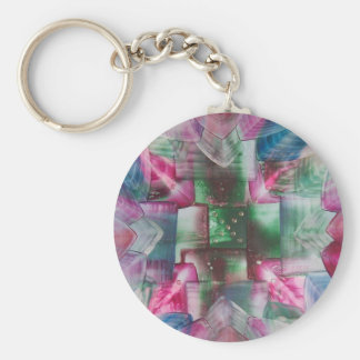 Encaustic Mandala green pink blue drops Keychain