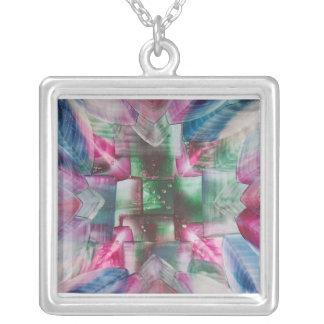 Encaustic Mandala green pink blue drops Square Pendant Necklace