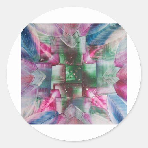 Encaustic Mandala green pink blue drops Stickers