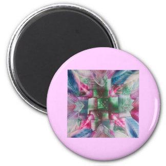 Encaustic Mandala green pink drops blue Imanes De Nevera