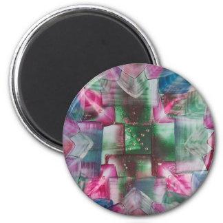 Encaustic Mandala green pink drops blue Imán Redondo 5 Cm