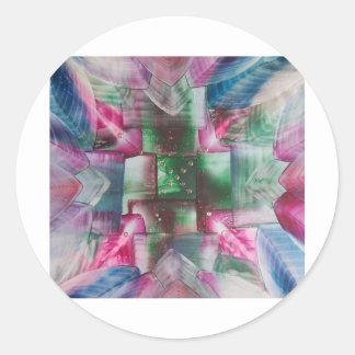 Encaustic Mandala green pink drops blue Pegatina Redonda