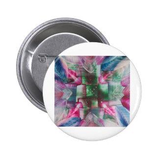 Encaustic Mandala green pink drops blue Pin Redondo De 2 Pulgadas