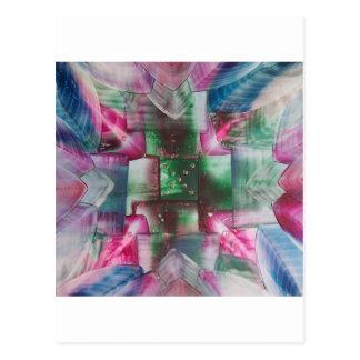 Encaustic Mandala green pink drops blue Postales
