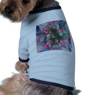 Encaustic Mandala green pink drops blue Camisetas De Perro