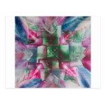 Encaustic Mandala green pink drops blue Tarjeta Postal