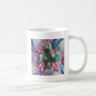 Encaustic Mandala green pink drops blue Tazas De Café