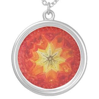 Encaustic mandala power round pendant necklace