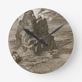 Enceladus Buried Underneath Mount Etna, 1731 (engr Round Clock