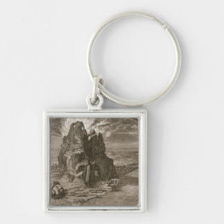 Enceladus Buried Underneath Mount Etna, 1731 (engr Silver-Colored Square Keychain