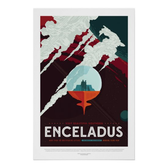 Enceladus Moon of Saturn advert for space tourism Poster