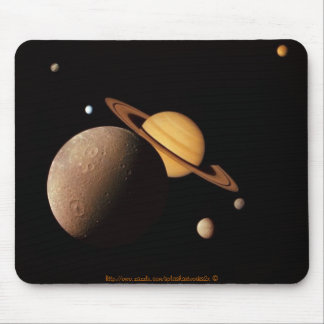 "Enceladus, & other moons orbiting Saturn"" Mouse Pad"