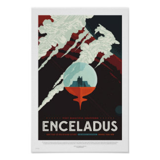 Enceladus - poster retro del viaje de la NASA Póster