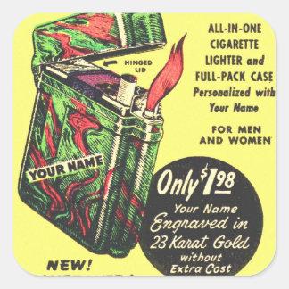 Encendedor retro del kitsch del vintage su del pegatina cuadrada