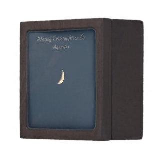 Encerar la luna creciente en acuario caja de recuerdo de calidad