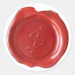 Encere el monograma del sello - rojo - $ artístico etiquetas redondas