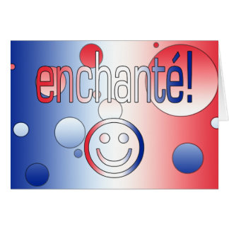 Enchanté! French Flag Colors Pop Art Card