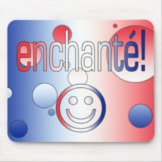 Enchanté! French Flag Colors Pop Art Mouse Pad