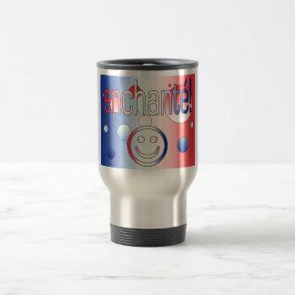 Enchanté! French Flag Colors Pop Art Mugs
