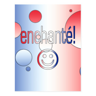 Enchanté! French Flag Colors Pop Art Postcard