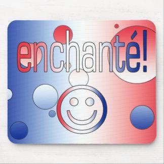 ¡Enchanté! La bandera francesa colorea arte pop Alfombrillas De Raton