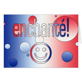 ¡Enchanté! La bandera francesa colorea arte pop Tarjeta