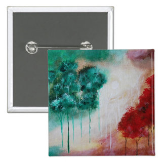 Enchanted Abstract Art Landscape Skinny Trees Button