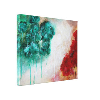 Enchanted Abstract Art Landscape Skinny Trees Stretched Canvas Prints