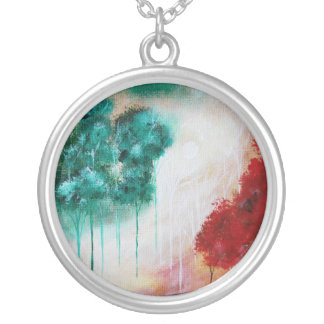 Enchanted Abstract Art Landscape Skinny Trees Round Pendant Necklace