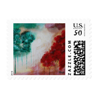 Enchanted Abstract Art Landscape Skinny Trees Postage