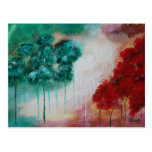Enchanted Abstract Art Landscape Skinny Trees Post Card