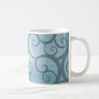 Enchanted Blue Wavy Swirl Pattern Coffee Mug