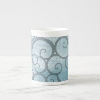 Enchanted Blue Wavy Swirl Pattern Tea Cup