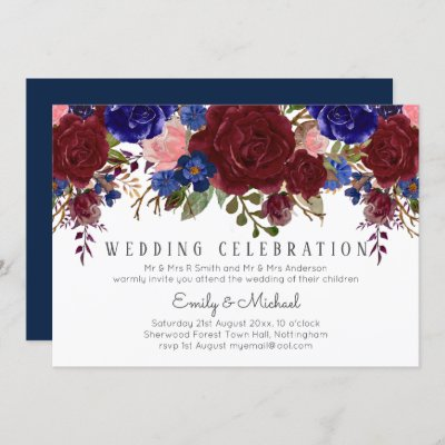 Enchanted Burgundy Blue Pink Floral WEDDING Invitation