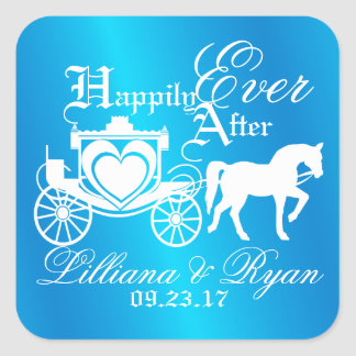 Enchanted Carriage Fairy Tale Blue Square Sticker