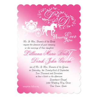 Enchanted Carriage Fairy Tale Wedding 5x7 Paper Invitation Card