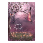 Enchanted Cherry Blossom Garden Butterfly Event 3.5x5 Paper Invitation Card
