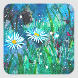 Enchanted Daisies Flower Meadow Square Sticker