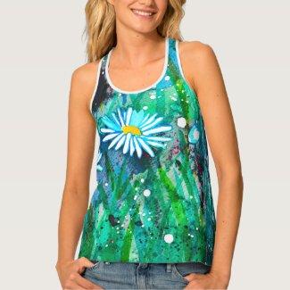 Enchanted Daisies Flower Meadow Tank Top