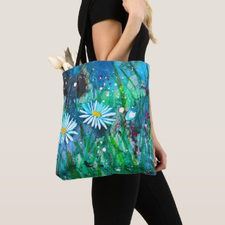 Enchanted Daisies Flower Meadow Tote Bag